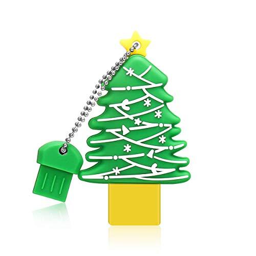 Christmas Tree Shape Flash Drive 16GB, MECO USB Thumb Drive USB 2.0 Funny Creative Green Christmas Tree Cartoon Memory Stick Christmas Thanksgiving Gift Metal Box Packing (Christmas Flash Drive)