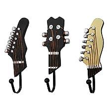 3 Pack Towel Coat Wall Rack Hangers Guitar Shape Vintage Resin Hook, Wall Mounted Metal Hook Decorative Coat and Hat Hook