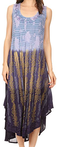 Sakkas 86458 - Alicia Ombre Vine Print Batik Dress/Cover Up with Sequins and Embroidery - Navy - OS ()