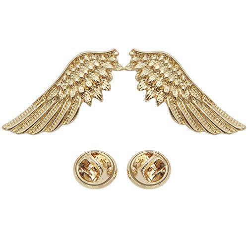 - Collar Brooch Pin, Luxiv Suit Shirt Collar Decorations Brooch for Women and Men Metal Gold Angel Wing Shape Suit Collar Pin with Gift Box (Gold)