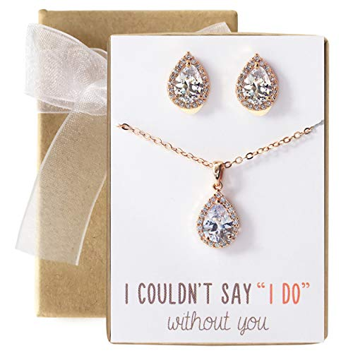 A+O Wedding Jewelry Set, Tear Drop Necklace and Earrings Set in Rose Gold