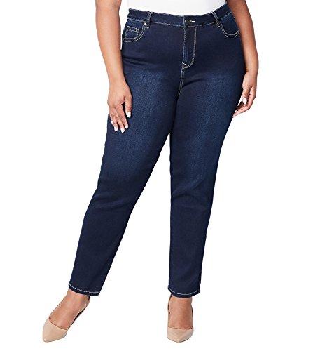 Avenue Women's Butter Denim Straight Leg Jean in Dark Wash, 30 Dark Wash