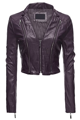 Sexy Moto Faux Leather Zip Up Slim Fit Crop Jackets, Small, 036-Purple