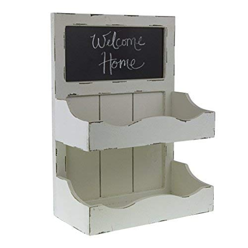 Distressed White Magazine Table - Decor Works – Wood Wall Organizer With Chalkboard And Two Storage Bins – Wall Mounted Blackboard – Magazine Rack – Magazine Holder – Shabby Chic – Rustic (Distressed White)