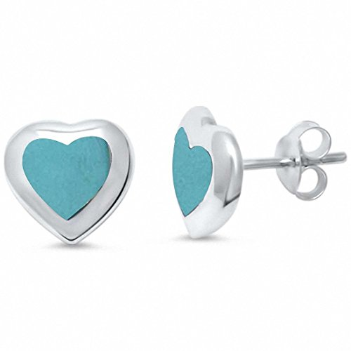 Sterling Turquoise Silver Inlay Blue (Heart Stud Earrings Simulated Turquoise 925 Sterling Silver)