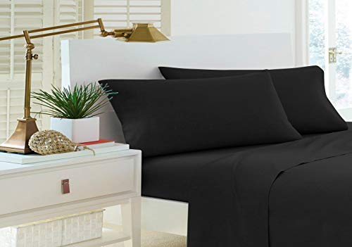(Home Sweet Home Dreams Inc Jessica Collection 200 Thread Count Percale Cotton Rich Twin Extra Long Sheet Set (Twin XL, Black))