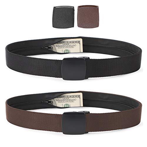 Travel Security Money Belt with Hidden Money Pocket - Cashsafe Anti-Theft Wallet Unisex Nickel free Nylon Belt by JASGOOD (Suit for pant size 41-50