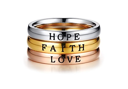 PJ Jewelry 3 Pcs Stainless Steel Faith Love Hope Inspirational Words Triple Stackable Band Ring for (Three Tone Trinity Ring)