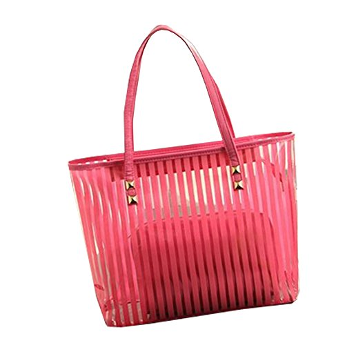 FTSUCQ Womens Casual Stripe Clear Tote Bag Transparent Beach Handbag Shoulder Bag Two-pieces
