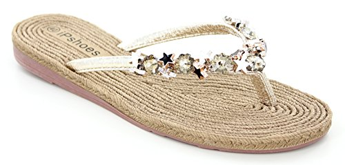Women's Casual Jewelled Star Flip Flop in Gold