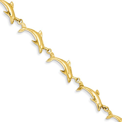 Roy Rose Jewelry 14K Yellow Gold Polished Dolphin Bracelet ~ Length 7'' inches (7' Yellow Bracelet Dolphin Gold)
