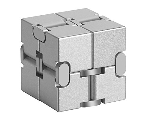 MingXinLong Finger Toy-Aluminium Alloy Infinity Cube,Pressure Reduction Toy,Anxiety Relief,Relaxation Office Stress Reducers for ADD, ADHD, Anxiety, Autism Adult & Kids (Silver, 1.51.51.5inch) by MingXinLong