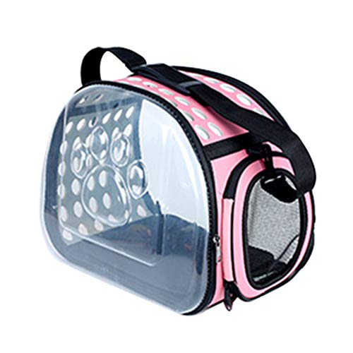 Saymequeen Foldable Pet Dog Outdoor Travel Carrier Purse Crossbody Portable Breathable Cat Bag Transparent Cat Carrier (S:36x20x22cm/14.1×7.8×8.6, Pink)