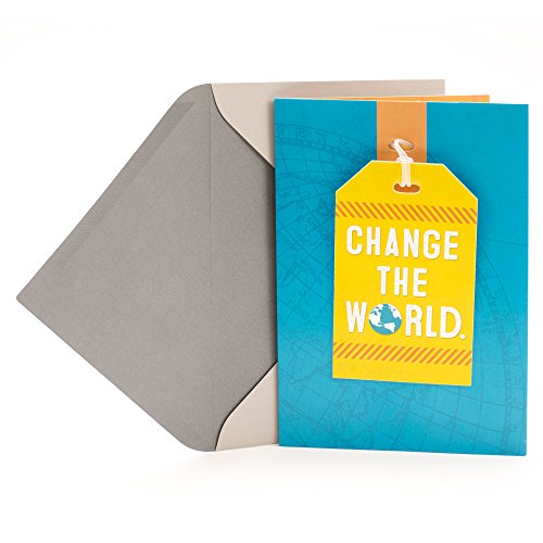Hallmark Graduation Greeting Card with Removable Luggage Tag (Change the World)