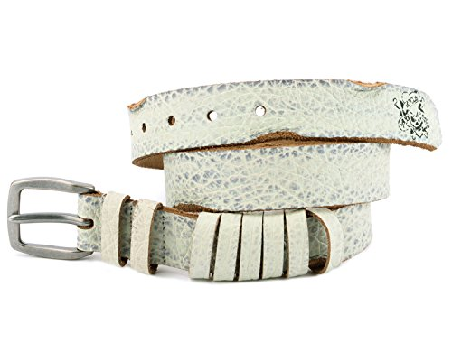 Ed Hardy EH3358 Womens Amore Grain Leather Belt - White/Medium