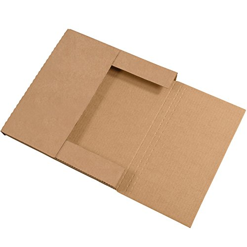 (Boxes Fast BFM12121K Corrugated Cardboard Easy-Fold Mailers, 12 1/2 x 12 1/2 x 1 Inches, Fold Over Mailers, Adjustable Die-Cut Shipping Boxes, Multi-Depth, Large Kraft Mailing Boxes (Pack of 50))