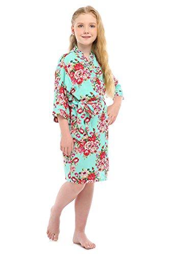 yon Cotton Floral Satin Kimono Robe for Wedding Dressing Gown Sleepwear(12,Mint-Green) ()