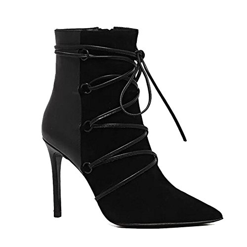 Boots Leather Zipper Thin Ankle BLACK 41 Side Heels Suede Women Shoelace Shoes Pointed High Fashion Short 5pqcwU