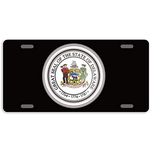 Eprocase License Plate Cover Automotive License Plate Novelty Car Tag Metal Decorative Tags Auto Sign Front License Plates 4 Holes 12 x 6 Inches, The Great Seal of The State of Delaware