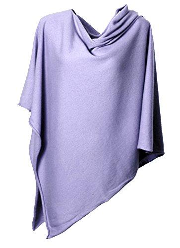 Anna Kristine Asymmetrical 100% Cashmere Draped Poncho Topper - Lavender Purple