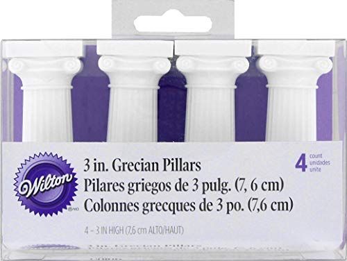 Grecian Design - Wilton 303-3606 4-Pack Grecian Pillars for Cakes, 3-Inch