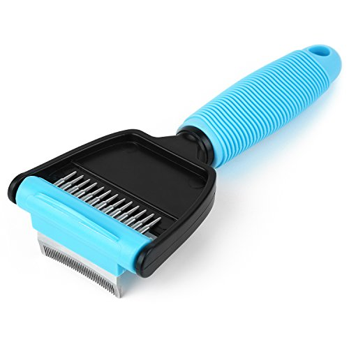 Hipidog Pet Brush, Double Use Dog Grooming Tools - Rake and De-shedding Pet Comb for Short Hair and Long Hair Dogs/Cats(S)