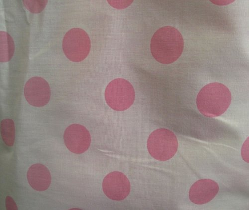 Dot Fabric Polka Cotton - Big Polka Dot Poly Cotton Pink Dots on White 58 Inch Fabric By the Yard (F.E.®)