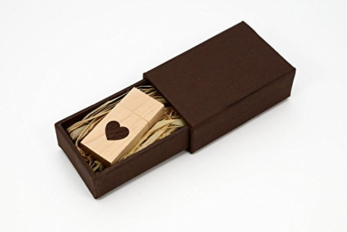 Maple Wood USB 2.0 16GB Flash Drive - Heart Veneer Love Design - With Matching Mastercraft Brown Paperbox ()