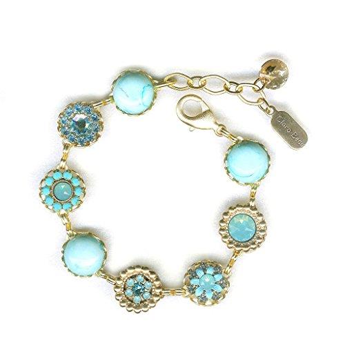 (Clara Beau Bright Turq Sky Swarovski crystal GoldTone Filigree Cluster Bracelet BF147)