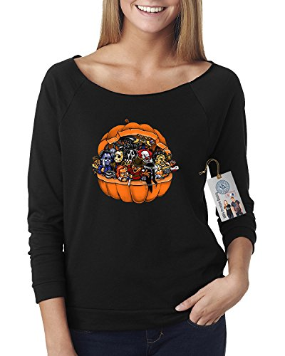 Pumpkin Halloween Scary Characters Off The Shoulder Top Black X Large