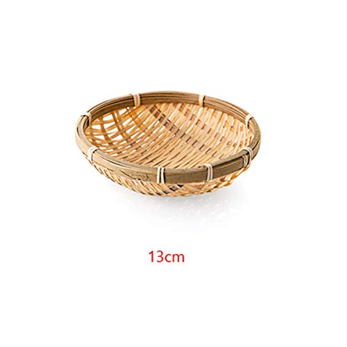 Handmade Bamboo Weaving Round Storage Basket Fruit Dish Rattan Bread Basket For Kitchen Food Picnic Bread Sundry Mini Container,13Cm