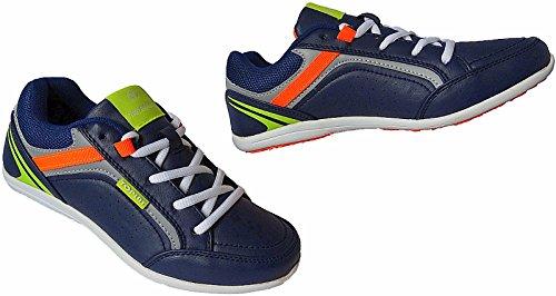 Damen Freizeit Halbschuhe Schuhe Sneakers Slipper Sport Gr.36 - 41 Art.-Nr. 1527 navy-orange-lime