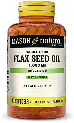 Mason Natural, Flax Seed Oil, 1000 Mg Omega 3-6-9 Linaza , Softgels, 100 Count Bottle Pack of 3 , Dietary Supplement with Omega Fatty Acids from Flax Seed, Supports Heart and Joint Health