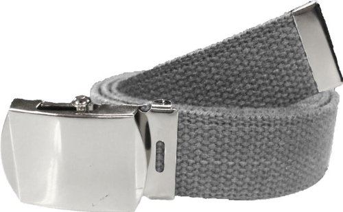 100% Cotton Military 54'' Web Belt (Grey Belt w/Chrome Buckle) by Army Universe