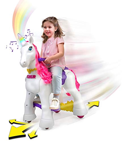 Feber My Lovely Unicorn 12V Ride On –Electric Vehicle- My Unicorn Electronic Pet & Long Pink Hair- Girl 3-7 Years ()