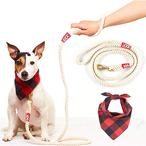 - Odi Style Dog Bandana with Dog Leash - Buffalo Plaid Dog Bandana with 5 Feet Cotton Rope Dog Leash, Dog Accessories for Small Medium Large Dogs, Red Navy Blue Bandana with Matching String Color Leash