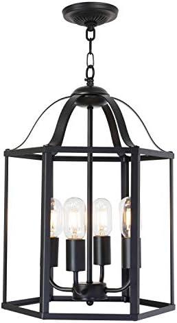 TULUCE 4 Light Farmhouse Pendant Light Vintage Black Industrial Chandelier