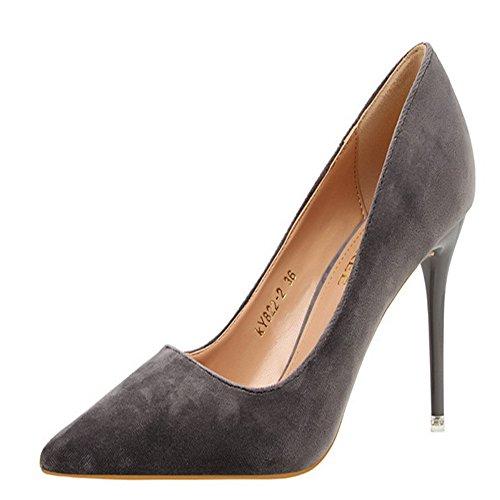 Manyis Dame Nouvelle Mode En Daim Peu Profond Stiletto Bout Pointu Chaussures Femmes Talons Hauts Pompes Couleur Gris Taille: 3