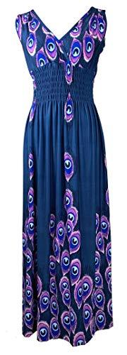 Steel Peacock Feather - Plum Feathers Exotic Print Smocked Waist Maxi Dress Plus & Regular Sizes Peacock Steel Blue 1x