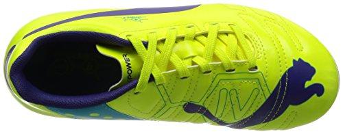 Puma evoPOWER 4 AG Jr - zapatillas de fútbol de material sintético infantil naranja - Orange (fluro yellow-prism violet-scuba blue 03)