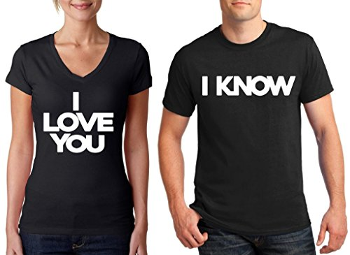 Awkwardstyles Matching Couple Shirts I Love You & I Know V-Neck & T-Shirt B Men Large/Ladies Medium]()
