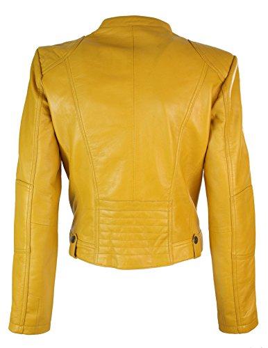 Jaune cintre nouvelle femme cuir biker collection vritable jaune Veste coupe 0fzx6qBg