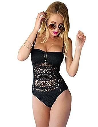 f7213cac3b9ec GRAPENT Women Lace Crochet Halter Strap One-Piece Bathing Suit ...