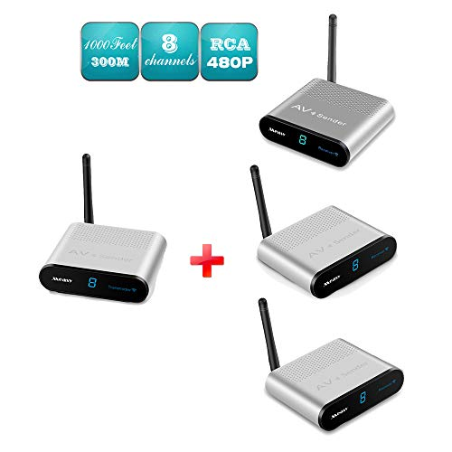 MEASY AV230-3 (1X3) 2.4GHz 8 Channels Wireless AV TV Audio Video Signal Sender Transmitter & Receiver 200M (Silver) with IR Signal Back Control