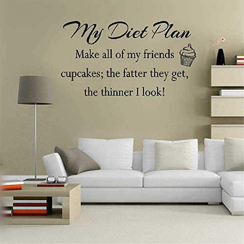 Wall Decal Quote Words Lettering Decor Sticker Wall Vinyl My Diet Plan Make All of My Friends Cupcakes The Fatter They Get The Thinner I Cook for Kitchen Dining Room