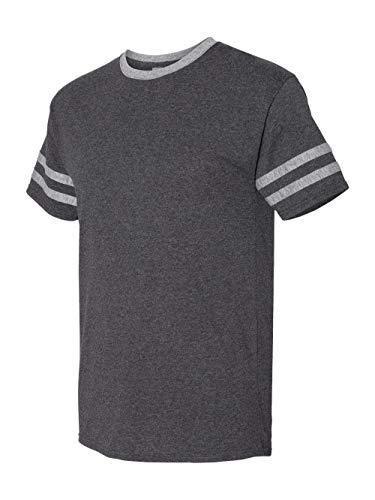 - Jerzees Men's Tri-Blend Varsity Ringer Tee Shirt, Black Heather/Oxford, Medium