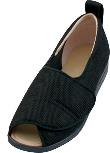노인복지 슈즈 아유미 오픈 매직 메쉬 신발  발폭 3E 한켤래 블랙 S(21.0~21.5cm)  / 핑크 3L(25.0~25.5cm)