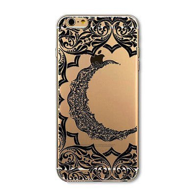 - DECO FAIRY Compatible with iPhone 8 / 7, Night Light Black Lace Crescent Moon Heart Mandala Love Tapestry Series Transparent Translucent Flexible Silicone Cover Case