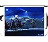 LB Birth of Jesus Backdrops for Photography 7x5ft Fabric Three Kings at The Holy Night Christian Backdrop Customized Photo Background Studio Props,Washable