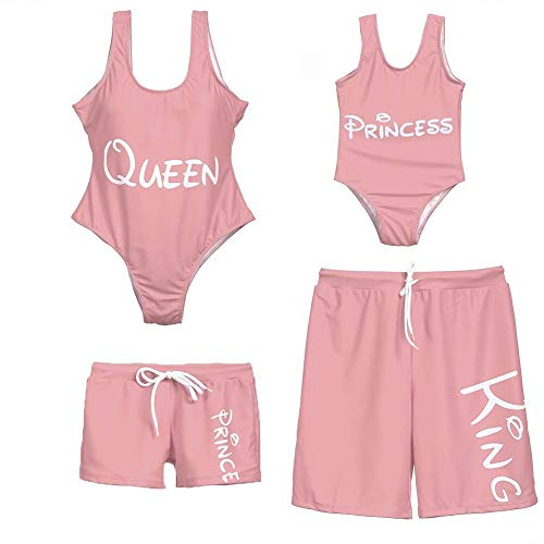 Mommy and Me Swimsuits with Letter Printed, Matching Family Swimwear One Piece Monokini Swimsuits